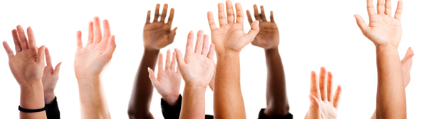Five raised hands.