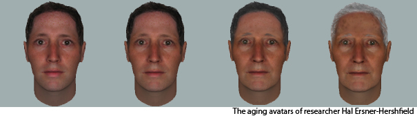 Computer generated projections of a man as he ages.