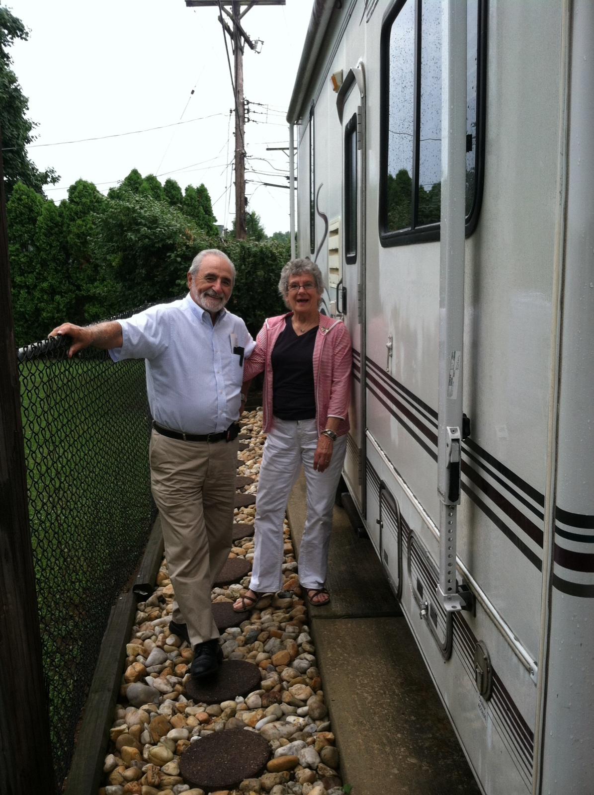Fran and Bob Ciaccia in front of RV