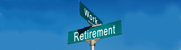 Photo: Crossroad signs of work and retirement