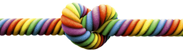 Rainbow rope tied in a knot.