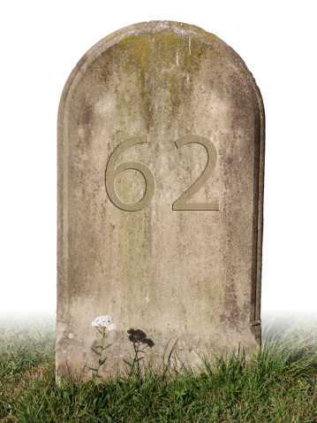 "Grave that says ""62"""