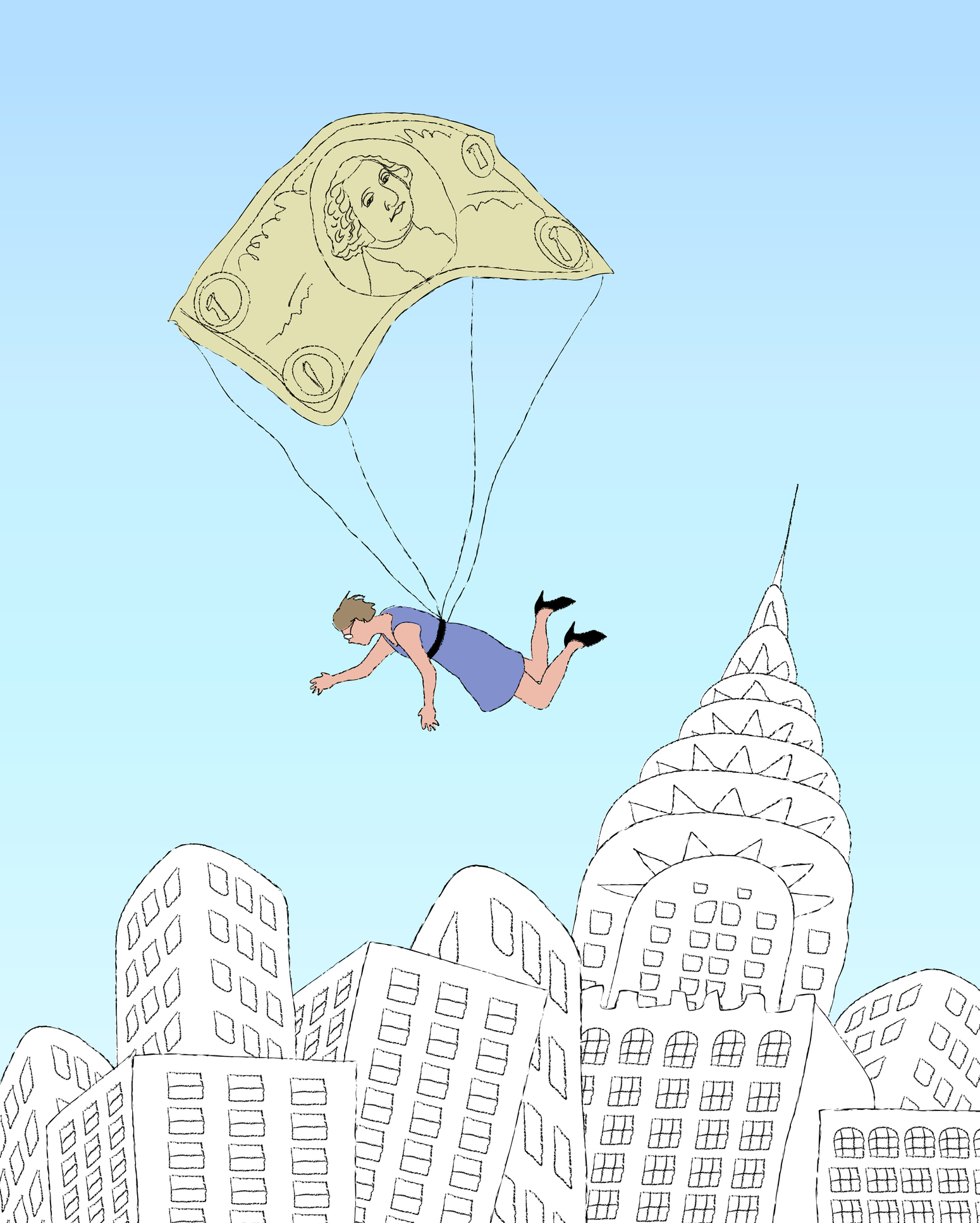 Woman falling on money parachute