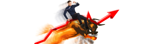 Man riding a bull with an upward arrow