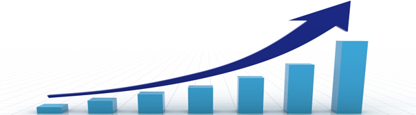 An arrow curving upwards (left to right) over the top of increasingly tall graph bars.