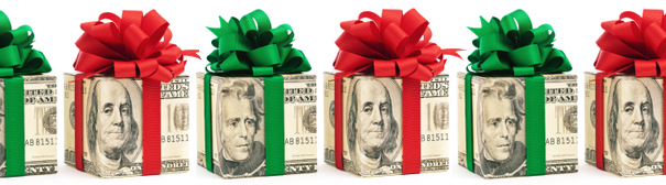 A number of presents wrapped in dollar bill style paper.