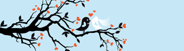 Two cartoon birds, one black, one white, sitting on a branch.