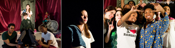 "Three pictures depiciting various scenes from the play ""Money Matters"""