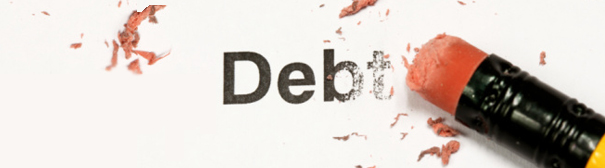 word 'debt' being erased