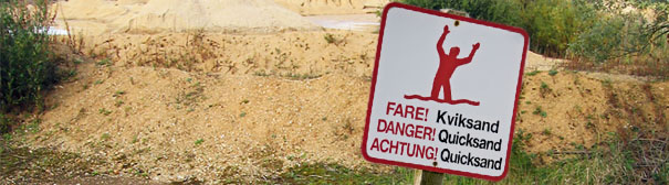Danger quicksand sign