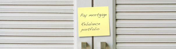 Photo: Postit- Pay Mortage, Rebalance Portfolio