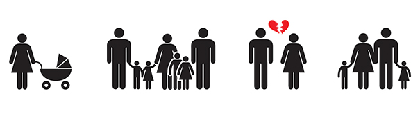 Illustration of different family types
