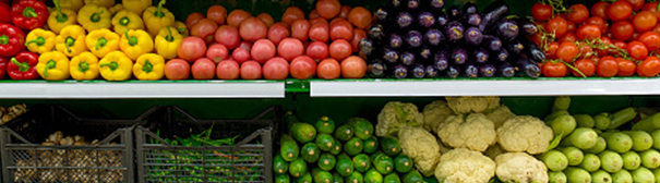 Produce shelves at grocery store