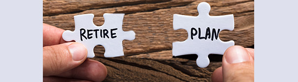 Puzzle pieces that say 'retire' and 'plan'