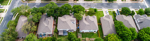 Aerial photo of a row of houses