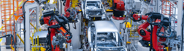Photo of an automotive production line.