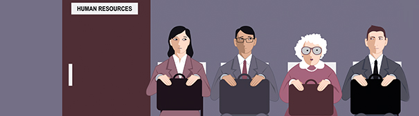 Art of people at a job interview