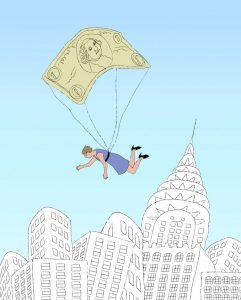 Woman being carried by a dollar