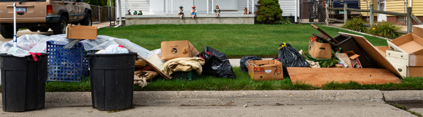 Belongings on the lawn